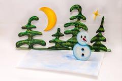 Χαρούμενα Χριστούγεννα και χιονάνθρωπος Στοκ εικόνες με δικαίωμα ελεύθερης χρήσης