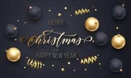 Χαρούμενα Χριστούγεννα και χρυσή διακόσμηση καλής χρονιάς, συρμένη χέρι χρυσή πηγή καλλιγραφίας για το μαύρο υπόβαθρο ευχετήριων  Στοκ Φωτογραφίες