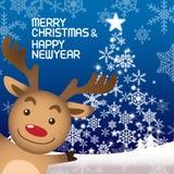 Χαρούμενα Χριστούγεννα και Rudolph Στοκ εικόνα με δικαίωμα ελεύθερης χρήσης