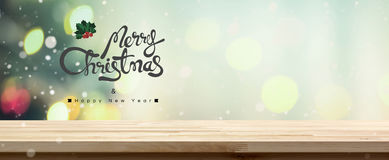 Χαρούμενα Χριστούγεννα και tabletop καλής χρονιάς υπόβαθρο εμβλημάτων Στοκ εικόνα με δικαίωμα ελεύθερης χρήσης