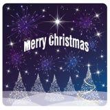 Χαρούμενα Χριστούγεννα καρτών, άσπρα δέντρο και πυροτεχνήματα Στοκ Εικόνα