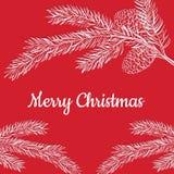 Χαρούμενα Χριστούγεννα καρτών σε ένα κόκκινο υπόβαθρο Στοκ Φωτογραφίες