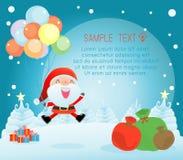 Χαρούμενα Χριστούγεννα, καλή χρονιά, σχέδιο Χαρούμενα Χριστούγεννας με το ευρύ διάστημα αντιγράφων, Άγιος Βασίλης Στοκ Εικόνα