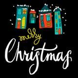 Χαρούμενα Χριστούγεννα, καλλιγραφία Ελεύθερη απεικόνιση δικαιώματος