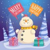 Χαρούμενα Χριστούγεννα κινούμενων σχεδίων και αφίσα καλής χρονιάς Εύθυμος χιονάνθρωπος στο καπέλο Santa και μαντίλι με τα κιβώτια ελεύθερη απεικόνιση δικαιώματος