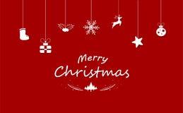 Χαρούμενα Χριστούγεννα, κόκκινη διακόσμηση, άσπρη έννοια Άγιος Βασίλης, ηνίο ελεύθερη απεικόνιση δικαιώματος
