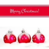 Χαρούμενα Χριστούγεννα! Κόκκινη κάρτα χαιρετισμών Στοκ Εικόνα