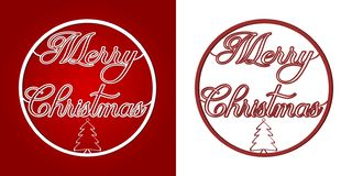 Χαρούμενα Χριστούγεννα - λέξεις και δέντρο σε ένα μπιχλιμπίδι Χριστουγέννων ελεύθερη απεικόνιση δικαιώματος