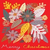 Χαρούμενα Χριστούγεννα, λουλούδια και φύλλα με τα εποχιακά χρώματα διανυσματική απεικόνιση