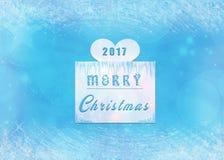 Χαρούμενα Χριστούγεννα 2017 με το μπλε και άσπρο υπόβαθρο στοκ φωτογραφία
