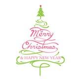 Χαρούμενα Χριστούγεννα, μορφή χριστουγεννιάτικων δέντρων Απεικόνιση αποθεμάτων