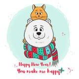 Χαρούμενα Χριστούγεννα, νέα ευχετήρια κάρτα έτους με τη χαριτωμένες πολική αρκούδα και τη γάτα Στοκ Εικόνες