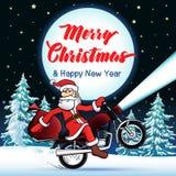 Χαρούμενα Χριστούγεννα ποδηλατών Santa και ευχετήρια κάρτα καλής χρονιάς Στοκ φωτογραφίες με δικαίωμα ελεύθερης χρήσης