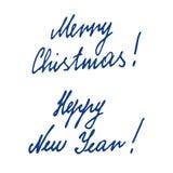 Χαρούμενα Χριστούγεννα που γράφει, καλλιγραφία χεριών Στοκ Φωτογραφίες