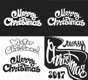 Χαρούμενα Χριστούγεννα που γράφει το σύνολο σχεδίου επίσης corel σύρετε το διάνυσμα απεικόνισης Στοκ φωτογραφία με δικαίωμα ελεύθερης χρήσης