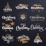 Χαρούμενα Χριστούγεννα που γράφει το σύνολο σχεδίου Στοκ φωτογραφίες με δικαίωμα ελεύθερης χρήσης