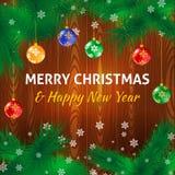Χαρούμενα Χριστούγεννα που χαιρετά την αφίσα Στοκ Φωτογραφίες