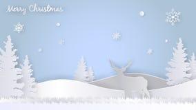 Χαρούμενα Χριστούγεννα που χαιρετά το πρότυπο σχεδίου, ύφος τέχνης εγγράφου Στοκ φωτογραφία με δικαίωμα ελεύθερης χρήσης