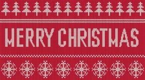 Χαρούμενα Χριστούγεννα που χαιρετά το πλεκτό σχέδιο Στοκ Εικόνα