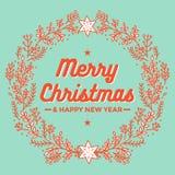 Χαρούμενα Χριστούγεννα, στεφάνι, ευχετήρια κάρτα καλής χρονιάς διανυσματική απεικόνιση