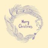 Χαρούμενα Χριστούγεννα στεφανιών Χριστουγέννων απεικόνιση αποθεμάτων