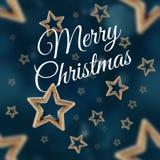 Χαρούμενα Χριστούγεννα στο άνευ ραφής σχέδιο 2 αστεριών νύχτας Στοκ Εικόνες