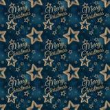 Χαρούμενα Χριστούγεννα στο άνευ ραφής σχέδιο 2 αστεριών νύχτας στοκ φωτογραφία με δικαίωμα ελεύθερης χρήσης