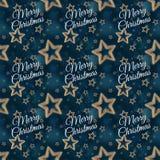 Χαρούμενα Χριστούγεννα στο άνευ ραφής σχέδιο 2 αστεριών νύχτας στοκ φωτογραφία