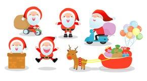 Χαρούμενα Χριστούγεννα, σύνολο προτάσεων Santa, συλλογή των Χριστουγέννων Άγιος Βασίλης στο άσπρο υπόβαθρο, Στοκ Εικόνα