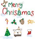 Χαρούμενα Χριστούγεννα s με το χέρι το σχέδιο απεικόνιση αποθεμάτων