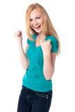 Χαρούμενη γυναίκα ενθαρρυντική και που γιορτάζει Στοκ Φωτογραφίες