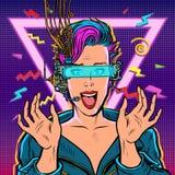 Χαρούμενη γυναίκα στα γυαλιά VR ελεύθερη απεικόνιση δικαιώματος