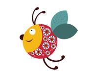 Χαρούμενη μέλισσα σε ένα άσπρο υπόβαθρο Στοκ εικόνες με δικαίωμα ελεύθερης χρήσης