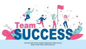 Χαρούμενοι επιχειρηματίες στην τεράστια επιτυχία ομάδας λέξεων διανυσματική απεικόνιση