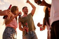 Χαρούμενοι φίλοι που απολαμβάνουν το υπαίθριο κόμμα στοκ εικόνες με δικαίωμα ελεύθερης χρήσης