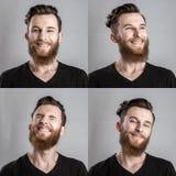 Χαρούμενος, ευτυχής νεαρός άνδρας που απομονώνεται στο γκρίζο backround κολάζ Στοκ Φωτογραφίες