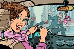 Χαρούμενος οδηγός γυναικών, ατύχημα στο δρόμο με τον πεζό ελεύθερη απεικόνιση δικαιώματος