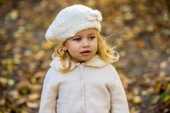 Χαρούμενο μικρό κορίτσι στο πάρκο το φθινόπωρο με τα φύλλα στα χέρια τους Στοκ Εικόνες