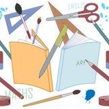 Χαρτικά, άνευ ραφής σχέδιο σχολικών προμηθειών - διάνυσμα ελεύθερη απεικόνιση δικαιώματος