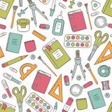 Χαρτικά σχολείου και γραφείων Άνευ ραφής σχέδιο στο doodle και το ύφος κινούμενων σχεδίων Χρώμα ελεύθερη απεικόνιση δικαιώματος