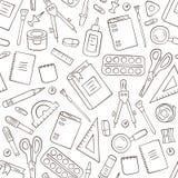 Χαρτικά σχολείου και γραφείων Άνευ ραφής σχέδιο στο doodle και το ύφος κινούμενων σχεδίων περίγραμμα στοκ εικόνες