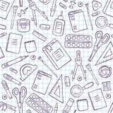 Χαρτικά σχολείου και γραφείων Άνευ ραφής σχέδιο στο doodle και το ύφος κινούμενων σχεδίων Καρνέ επιταγών σε ένα κλουβί διανυσματική απεικόνιση