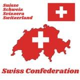 Χαρτογραφήστε την περίληψη και η σημαία της Ελβετίας, αυτό είναι αποτελείται από μια κόκκινη σημαία με έναν άσπρο σταυρό στο κέντ διανυσματική απεικόνιση