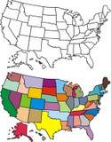 χαρτογραφήστε τις ΗΠΑ Στοκ Εικόνες
