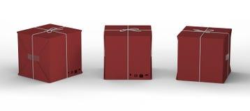 Χαρτοκιβώτιο χαρτονιού που τυλίγεται με το κόκκινο έγγραφο και που δένεται με τη σειρά, απεικόνιση αποθεμάτων
