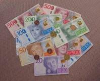 Χαρτονομίσματα σουηδικών κορωνών και νομίσματα, Σουηδία Στοκ Εικόνα
