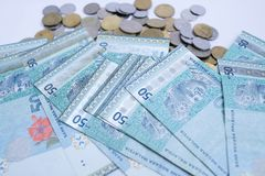 Χαρτονομίσματα χρημάτων της Μαλαισίας 50 RINGGIT και μαλαισιανό νόμισμα που απομονώνονται στο άσπρο υπόβαθρο στοκ φωτογραφίες με δικαίωμα ελεύθερης χρήσης