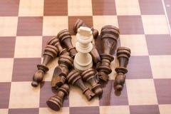 Χαρτόνι σκακιού με τα κομμάτια σκακιού Στοκ φωτογραφία με δικαίωμα ελεύθερης χρήσης