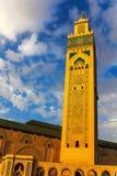 Χασάν ΙΙ μουσουλμανικό τέμενος στην παραλία της Καζαμπλάνκα στο ηλιοβασίλεμα, Μαρόκο Στοκ εικόνα με δικαίωμα ελεύθερης χρήσης