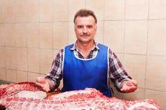 Χασάπης και κρέας Στοκ φωτογραφία με δικαίωμα ελεύθερης χρήσης